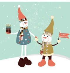 Christmas greeting card with two stylized snowmen vector image