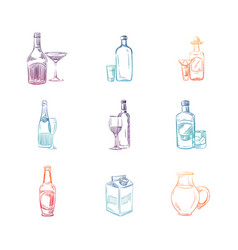 colorful sketch alcohol and non alcohol drinks vector image