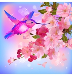 greeting card with branch of flowers and vector image vector image