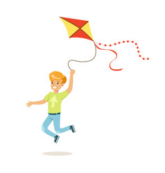 happy boy running with his flying kite kids vector image vector image