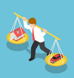 isometric businessman carrying house and car on vector image vector image