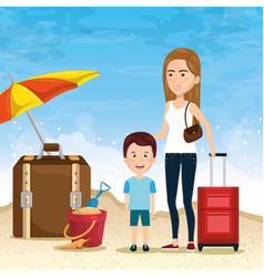 mother with son on the beach vector image
