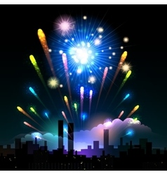 Night fireworks in a city vector image