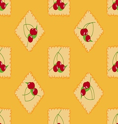 Cute cherry seamless pattern vector image