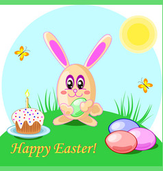 easter rabbit eggs and cake vector image vector image