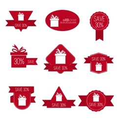 Gift stickers with discount offer vector image