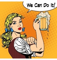 girl waitress with beer says we can do it vector image