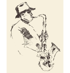 Jazz poster saxophone music acoustic consept vector image vector image