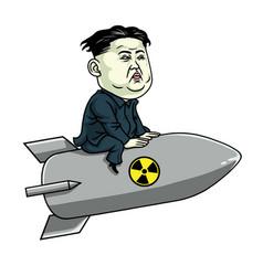 kim jong un on nuclear rocket weapon cartoon vector image