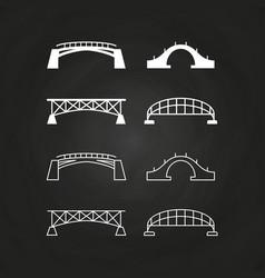 line and outline bridges design on chalkboard vector image