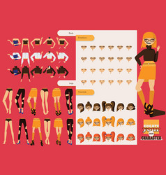 beautiful hand drawn set with parts for creating vector image vector image