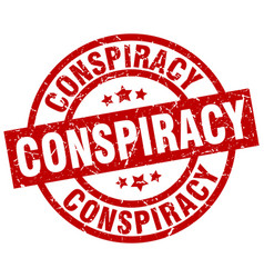 Conspiracy round red grunge stamp vector