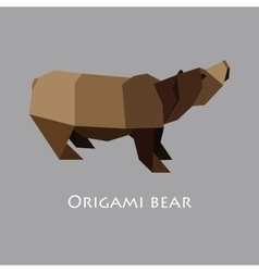 flat design with origami bear vector image vector image