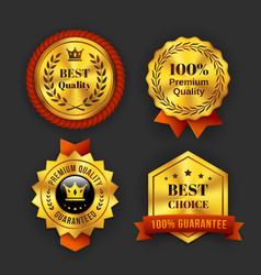 Gold Guaranteed Labels vector image vector image