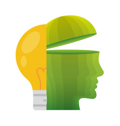 head think green bulb light energy vector image