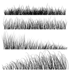 Set of grass silhouettes backgrounds vector
