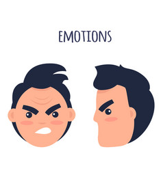 emotions angry man faces isolated vector image