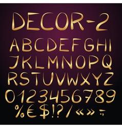 Golden decorative english alphabet vector image vector image
