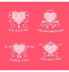 Graceful Floral Valentine Line Style Hearts vector image vector image