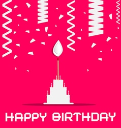 Happy Birthday with Cake and Confetti on Pink vector image vector image