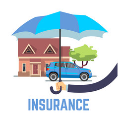 insurance flat safe concept with hand vector image