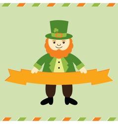 St Patricks Day leprechaun card vector image vector image