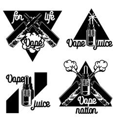 Vintage vape e-cigarette emblems vector image