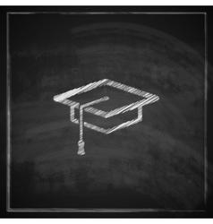 Vintage with graduation cap sign on blackboard vector