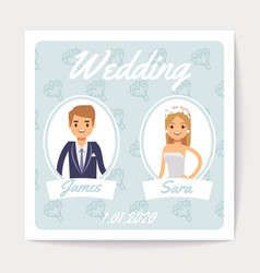 wedding invitation card with happy married vector image