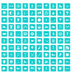 100 baseball icons set grunge blue vector image
