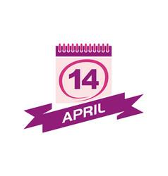 14 april calendar with ribbon vector