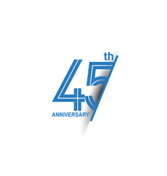 45 anniversary blue cut style isolated on white vector
