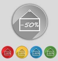 50 discount icon sign Symbol on five flat buttons vector image
