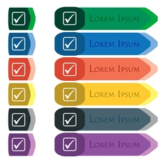 A check mark icon sign Set of colorful bright long vector image