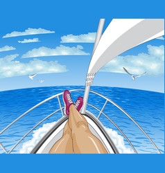 A person restsing on yacht tropical paradise vector