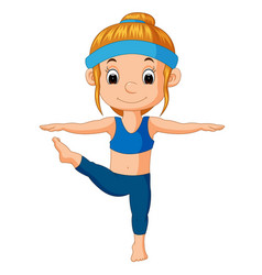 A smiling girl doing yoga vector