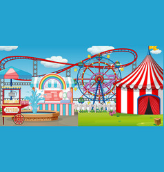 An outdoor funfair scene with roller coaster vector