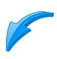 arrow down blue 3d shiny sign vector image