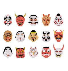 asian mask tattoo salon face japanese authentic vector image