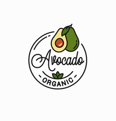 avocado fruit logo round linear avocado slice vector image