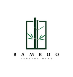 bamboo in square logo design templatecreative vector image