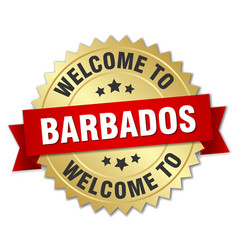 Barbados 3d gold badge with red ribbon vector