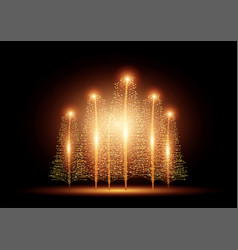 beautiful christmas trees with lights vector image