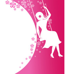 Beautiful women sit on flower swing on pink vector image