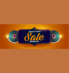 Big diwali sale banner with crackers decoration vector