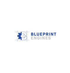Blueprint engine machine logo with letter b and vector