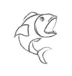blurred sketch silhouette of open mouth fish vector image