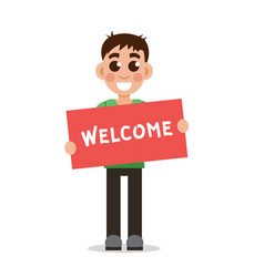 boy holding poster with word welcome vector image