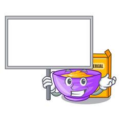 Bring board cereal box in a cartoon bowl vector