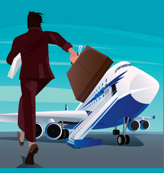 businessman in a hurry for the passenger plane vector image